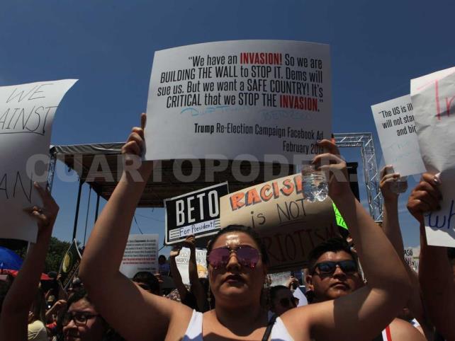 En medio de protestas, Trump llega a El Paso