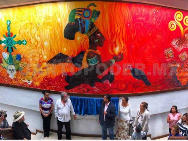 Inauguran mural Ik´al Ajaw, de Gómez Ozuna