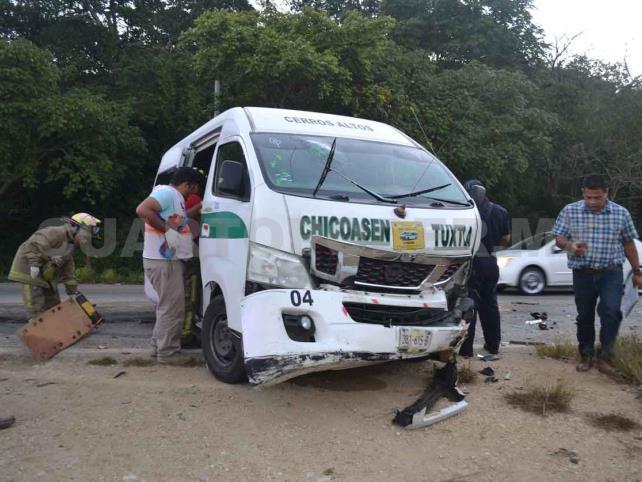 Siete lesionados en encontronazo en el tramo Tuxtla-San Fernando