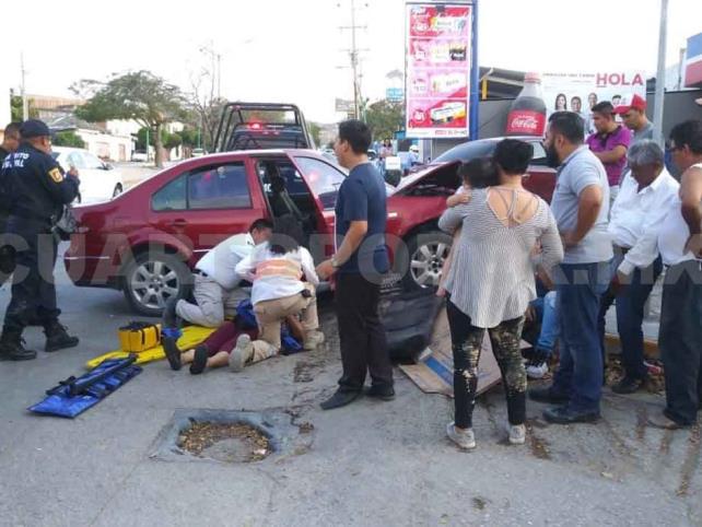 Cuatro lesionados en accidente automovilístico