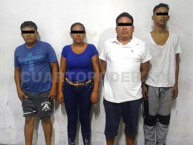 Cuatro detenidos por portación de arma y droga